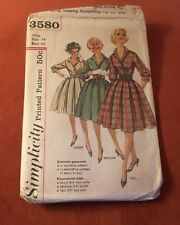 VINTAGE SIMPLICITY 3580 MISSES SZ 14 ONE PIECE DRESS PATTERN IN PROPORTIONED SZ