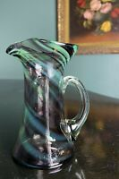 Multicolored green purple Swirl Art Glass Ewer Pitcher Vase with Applied Handle