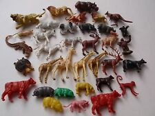 Vintage Miniature Group Lot Plastic Farm Wild Animals Lions Giraffes Cows Hippo