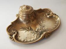 Art Nouveau Antique Brass Inkwell
