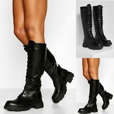 Womens Lace Chunky Sole Knee High Biker Boots Ladies Calf Military Combat Shoes