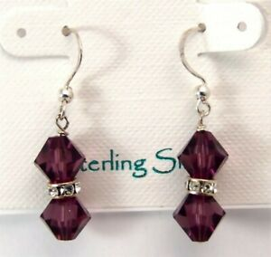 Sterling Silver Earrings Amethyst color Crystal French Earwires Handmade in USA