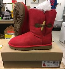 UGG Women's 1012362 Keely Sheepskin Lined Toggle Boots in Red Size 7 US NIB Pink