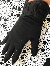 Pair Of Vintage Ladies' Black Cotton Gloves
