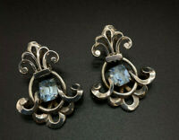 Vintage 1950s Napier Silver-plated Blue Topaz Swinging Pendant Earrings