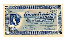 Spain, Civil War/ Consejo Provincial De Badajoz … 25 Centimos … 1937 … *XF*