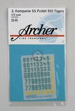 Archer 1/72 3./s.SS-Pz.Abt.501 Turret Markings (Tiger II) (Blue/Yellow) AR74011