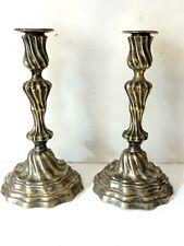 Ancienne paire de Bougeoir  Candélabre  en bronze d'ésargenté  XVIII éme