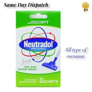 3 SACHET NEUTRADOL VAC FRESHNER VACCUM CLEAN FRAGRANCE DETROYS ODOURS CLEAN