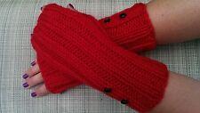 Christmas RED Long Fingerless Gloves, Knitted Mittens
