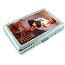Metal Silver Cigarette Case Holder Box Pin Up Girl Design-018