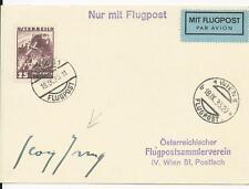 1935 Air Mail postcard / AUTOGRAPH