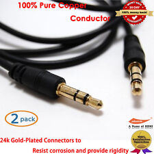 3.5mm Audio Aux Male Stereo Cable Pc For iPod iPhone , 6-Feet x 2pcs