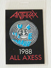 ANTHRAX Laminated ALL ACCESS Backstage Tour Pass (1988 U4EAH ALL AXESS)