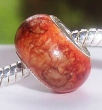 Orange Brown Watercolor Acrylic European Style Bead for Silver Charm Bracelet