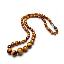 Tiger Eye Nature Stones Necklace 46cm Long with Various Size Beads