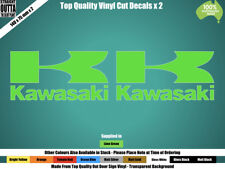 KAWASAKI DECAL x 2 - VINTAGE BIKE, CAFE RACER ,MOTOR CROSS - GREEN or COLOURS