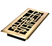 Décor Grates Satin Brass Abstract Floor Register Vents  4'' X 12'' ABH412 -