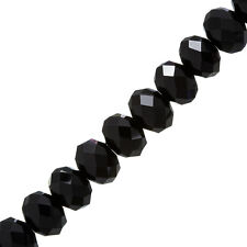 "Black 14x10mm Faceted Crystal Glass Rondelle Beads 8"" (P43)"