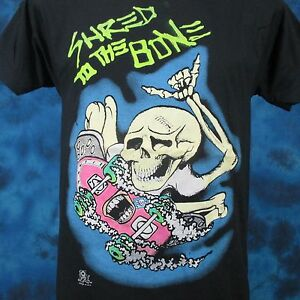 vintage 80s SKATE SKELETON SHRED CARTOON T-Shirt SMALL surf skateboard punk thin