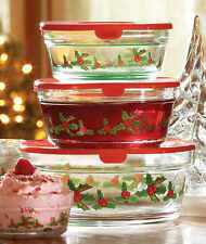 5 Piece Glass Holiday Holly & Berries Graduated Sizes Storage Bowl Set With Lid