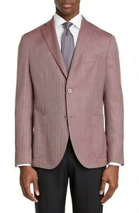 BOGLIOLI Men's Red Herringbone Virgin Wool & Silk K-Jacket Blazer Size 52R / XL
