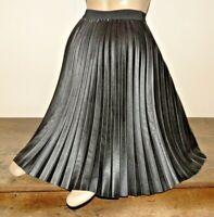 jupe taille unique plissée cuir synthétique noir neuve pleated skirt 881