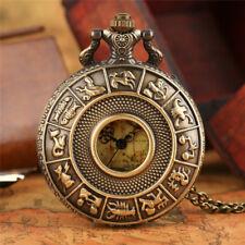 Carte rétro visage vert Bronze creux Constellations femmes hommes Pocket Watch Gift