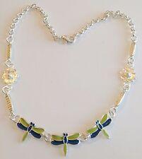 Collier bijou année 1970 Libellule émail verte et bleu couleur argent 333