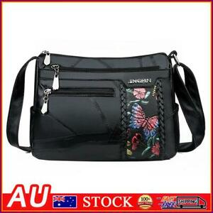 Women Flower Printed Shoulder Bags Multi Pocket Leather Crossbody Handbags Purse