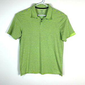 Oakley Green Premium Lightweight Striped Polo Shirt Size Men's Large Regular Fit