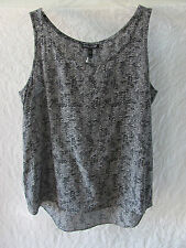 Eileen Fisher Scoop Neck 100% Silk Crepe Shell /Tank-Pewter/Black -Size PM -$198
