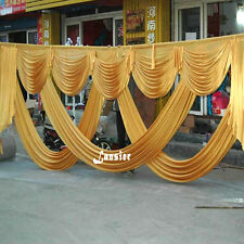 Wedding event stage decorations gold backdrop party drapes swag silk fabric 2017