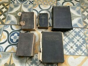 Vintage Antique Collectable Books Holy Bibles x 4 & Dictionary
