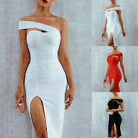 Ladies Dress Solid One Shoulder Bodycon Split Slim Fit Knee Length Sexy Tight