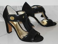 New $258 COACH Black Suede Leather Ankle Strap Tassels Sexy High Heel Shoes~8