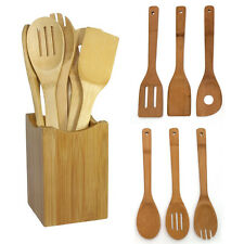 6Pc Wooden Bamboo Spoon Spatula Turner Mixing Kitchen Cooking Utensils Set Tool