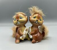 ENESCO Anthropromorphic  SQUIRREL  WITH FUR SALT & PEPPER SHAKERS, Mohawk and ta