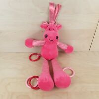 """JELLYCAT COW PINK & WHITE STRIPED 14"""" INTERACTIVE COT PRAM SOFT TOY COMFORTER"""