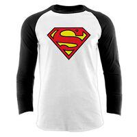Official DC Comics Superman Logo Long Sleeve Baseball shirt Small