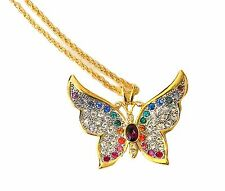 1999 Butterfly Necklace Swarovski Rhinetone Slide Pendant Gold Plated Rope Chain
