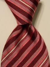 THOMAS PINK Mens 100% Silk Necktie ENGLAND Luxury STRIPED Pink/Burgundy/Gray EUC