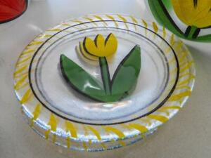 KOSTA BODA Tulip Glass Plates YELLOW Tulips by Ulrica Hydman Sweden