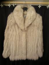 Saga Beautiful Natural Blue Fox Fur Coat Finland White Medium