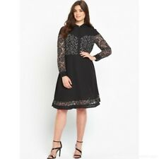 BNWT So Fabulous Monochrome Lace Insert Shirt Dress Size 18