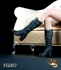"""1/6 Scale Fire Girl Toys Black Long Boots FG007 For 12"""" Action Figure"""