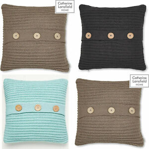 Catherine Lansfield Chunky Knit Knitted Wool Effect Wood Button Cushion Covers