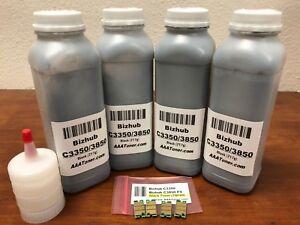 4 BLACK Toner Refill for Konica Minolta Bizhub C3350, C3850 FS + 4 Chip (TNP48K)