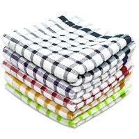 Towelogy® 6 Pack 100% Egyptian Cotton Kitchen Tea Towels Monocheck Dish Cloths