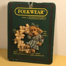 Boyds Bears Folkwear Pin Folk Art New Tbc 1995 Bone Wreath Puppy Dog Pet Ribbon